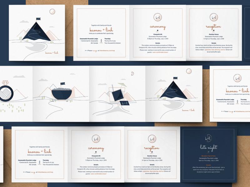 K+L Wedding Card invitation wedding cards print illustrator logo branding illustration vector
