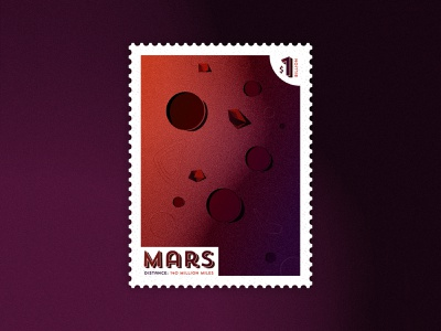 Mars: Out of this World Stamp illustrator dribbble warmup design travel textures stamp outerspace planet mars illustration vector dribbblewarmupweekly