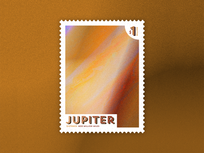 Jupiter: Out of this World Stamp dribbblewarmupweekly outerspace warmup travel space planets jupiter dribbble design illustrator illustration vector