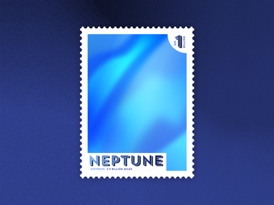 Neptune: Out of this World Stamp stamp blue textures vector travel space outerspace planets neptune illustrator illustration dribbblewarmupweekly dribbble design