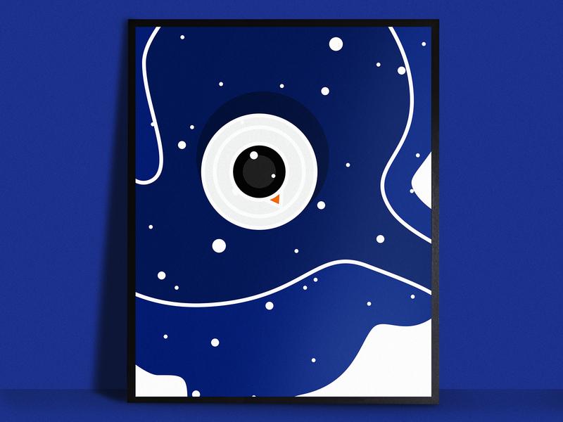 Snowman Poster snow vector snowman winter simple print poster blue illustrator illustration holiday