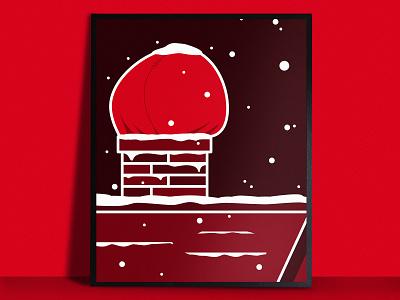 Santa Down the Chimney Poster red chimney santa christmas illustrations print simple illustration vector