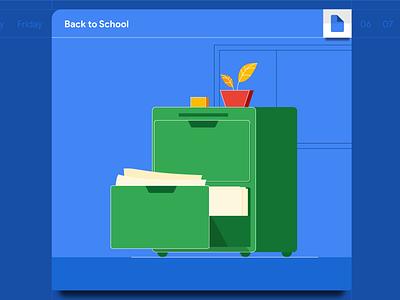 Back to School: Cabinet Illustration education google blue cabinet school design illustrator branding illustration vector