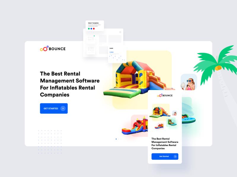 Inflatables Landing Page software rental uidesign ux ui illustrator vector logo flat web icon minimal illustration design