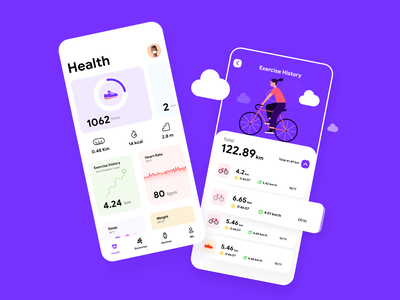 Health App Ui ios morningbird fitness uxer ramonyv icon design illustraion ux ui kit ui health app ui kit health app health app