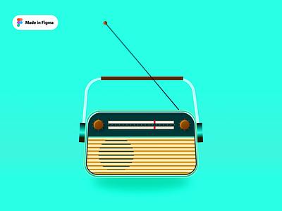 Radio Illustration flat design vector illustration icon daily radio retro old vintage