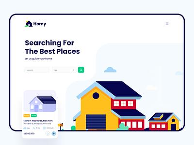 Homy Web Screen cuberto ui ux icons graphics illustration interface web real estate house realtor agent sale broker