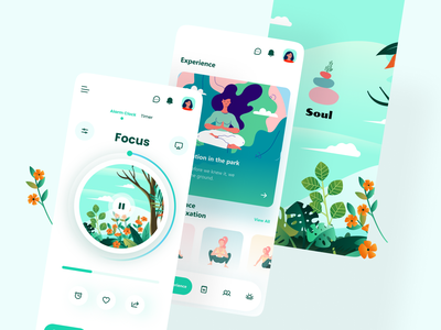 Soul Meditation App app ui ux mobile meditation meditation app stress app relaxing clean blue mobile app chilling ios physiotherapy yoga mobile ui clean ui uiux