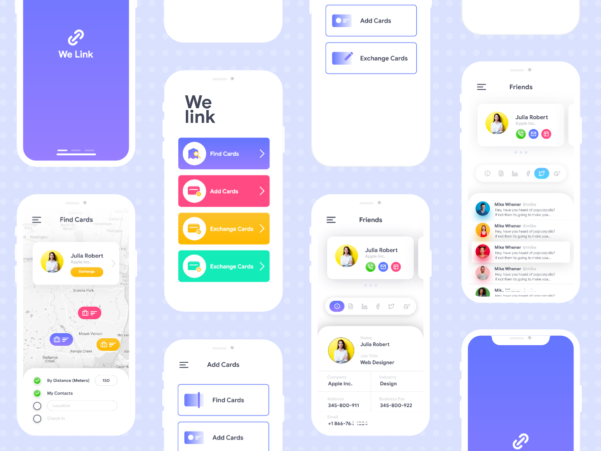 We link app Ui Freebie. ux ui trendy colors icon illustrations ios design app vcard tooltip seo professional portfolio minimal freelancer developer designer clean business