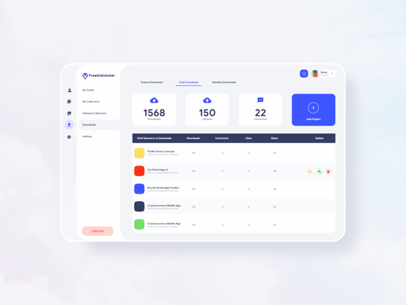 Freebielobster Dahsboard webapps app adobexd ux design ux uidesign ui desktop web design crm dashboard