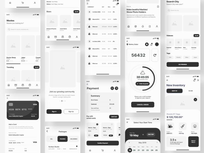 UI Mix Wireframe Ui Kit wireframe kit ux ui kit ui screen prototype mobile ios11 ios e-commerce application apple app
