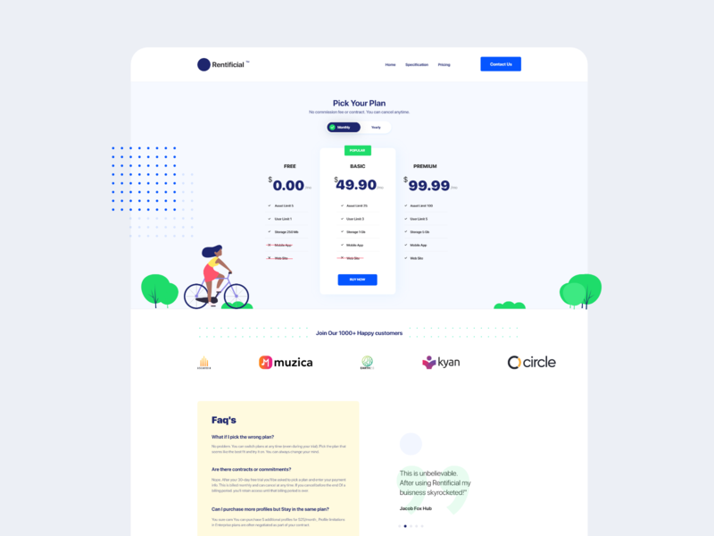 Pricing Page illustration www website web ux ui page pricing layout interface interaction design book contract blue animation