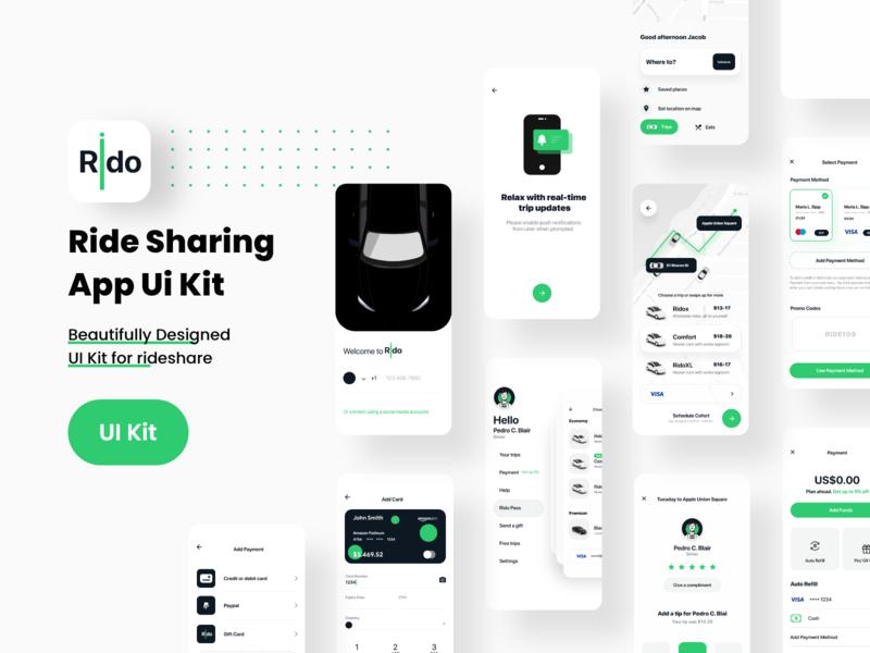 Rido App Ui Kit startup minimal design app uber taxi mobile app taxi ridesharing app rideshare passenger mobile application mobile app ui ride driver car booking booking