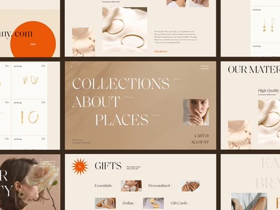 Jewelry Store photo pastel color fonts minimal ecommerce ribsone typogaphy grid mainpage catalog product page menu orange jewelry fashion button animation web concept ui