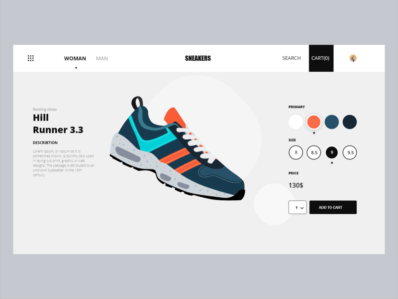 E-commerce web app design illustration ui shoes app add to cart shopping app shop xddailychallenge sketch xd design web design sneakers shoes store shopping ecommerce webapp web