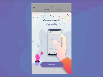 Whoow - well done! cactus interface design app design ui  ux ui done pop up end of  step success whoow colors illustration