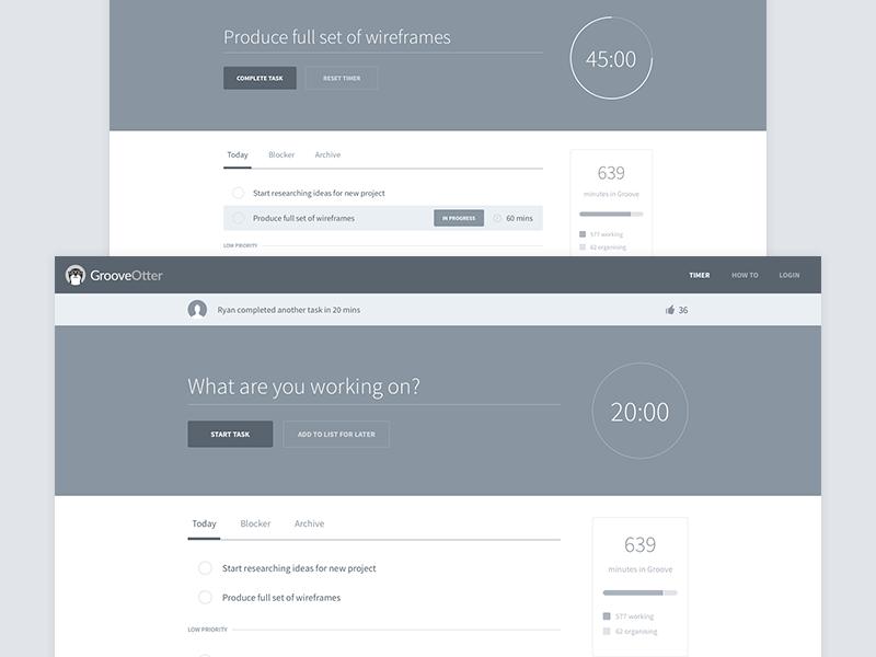 Wireframes wireframes grayscale productivity timer countdown web app web tabs input progress pomodoro
