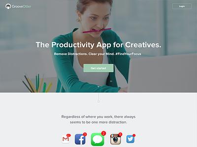 Productivity App - Landing Page pomodoro timer countdown notifications login hero landing page landing app web productivity
