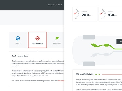 Performance tune dial dashboard car selection option select form menu button web ui