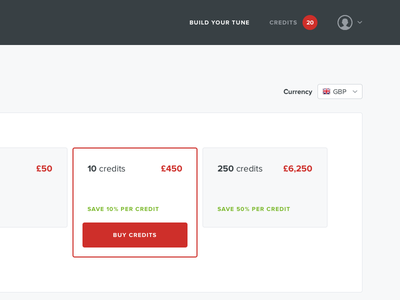 Credits automobile car button buy purchase shop ecommerce credits red ux ui web