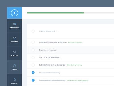 Tasks tasks list check table nav menu progress bar app web ui