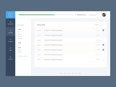 Courses dashboard dashboard college education tasks list table nav menu progress bar app web ui