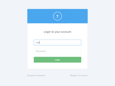 Login blue textfield registration login button form ui web