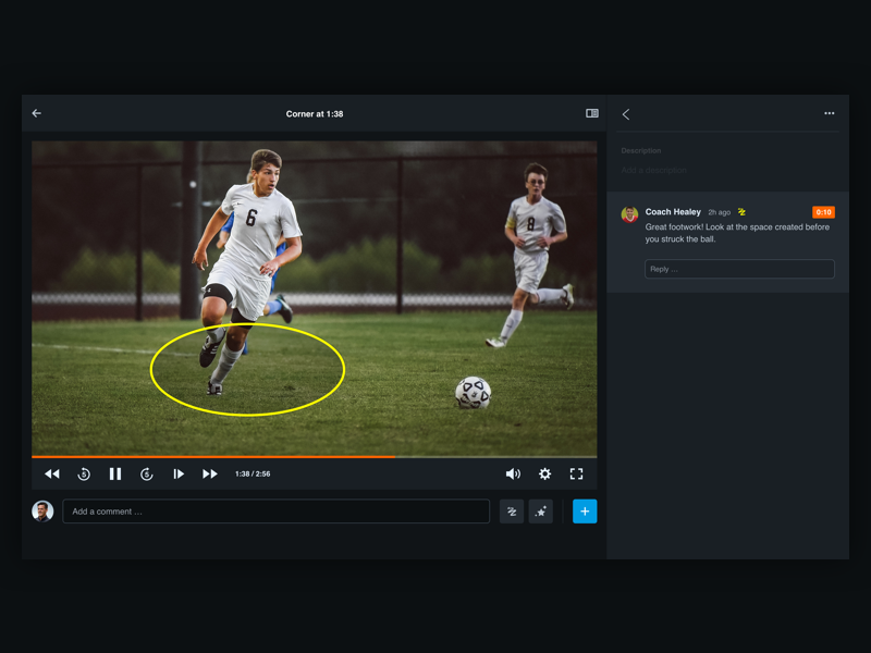 Hudl Video Experience comment annotation drawing analysis soccer sport video ux ui web
