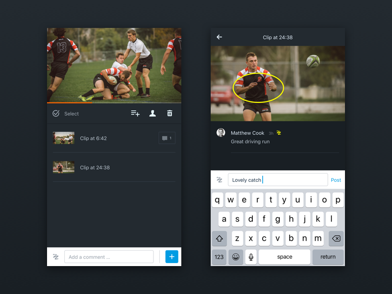 Hudl Video Experience - iOS sport rugby drawing comment annotation analysis video ui ux ios