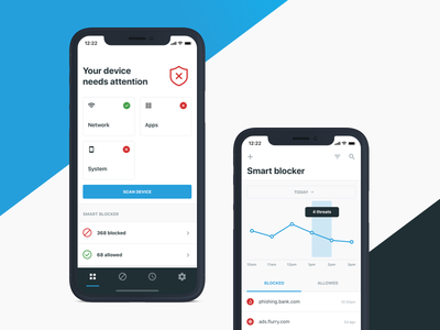 Mobile Security App dashboard ui dashboard network status mobile security graph chart ios phishing ad blocker security mobile