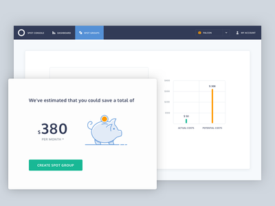 Savings money button nav ui bar chart illustration piggy bank savings dashboard graph chart web