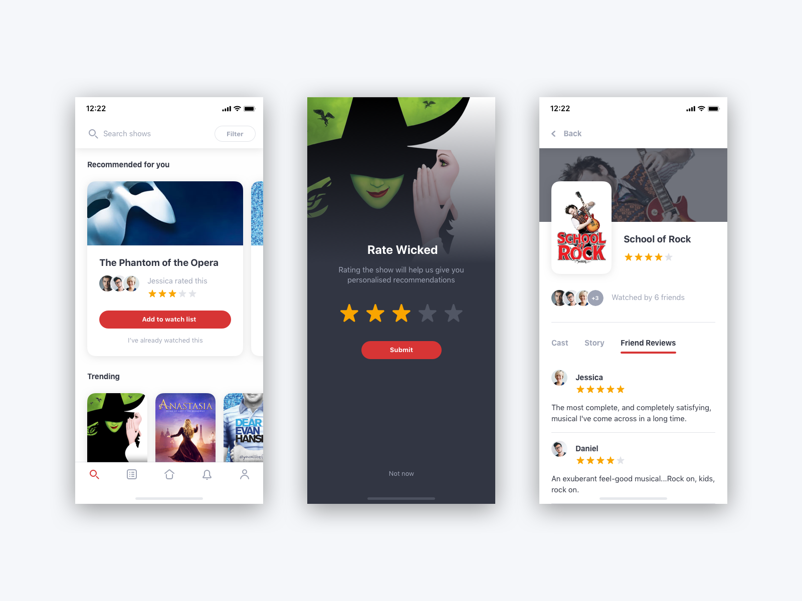 Theatre review app broadway show trending feed rating rate movies review ios app mobile theatre ux ui