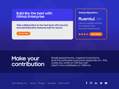 Github Landing Page Concept #2 interface uiux ui open source code coding community contrib branch commit git app web design yogyakarta webdesign website web graphic design github