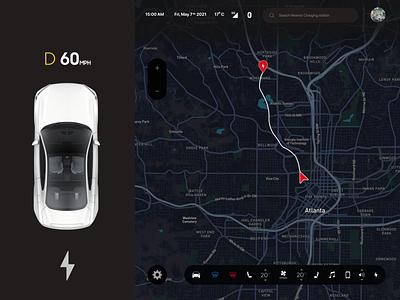 Tesla Control Panel UI Concept phosothop design ui autonomous car steer control dashboard vehicle driving dark ui dark mode dark control panel motor battery green tesla map