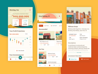 Property Investment App Concept property investment real estate apartment house app mobile vintage retro chart investing stock app concept application