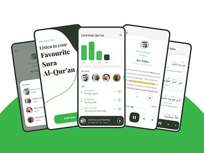 Listen Quran Application Concept light dark ui ui mobile mobile ui achievement sura alquran quran arabic rtl dashboard profile whitespace dark white clean app ios application app concept
