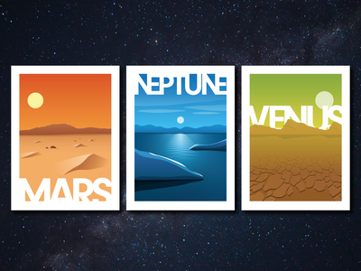 Planetary Tour Posters Part 1 poster design illustration vector