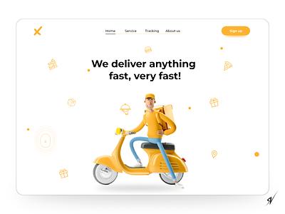 Delivery brand website vector logo animation motion graphics 3d graphic design delivery logistics social media brand identity brand design ux ui branding design