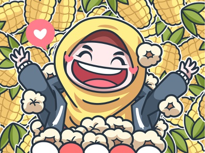 Cumicorn cute girl yellow illustration character popcorn