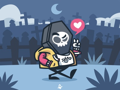 Dead Line blue vector illustration character die dead