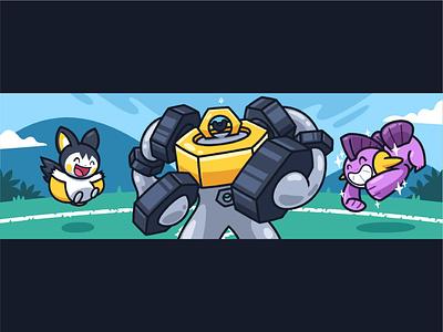GL Team (Pokemon) cute colorfull vector illustration battle vc character cartoon team gl pokemon