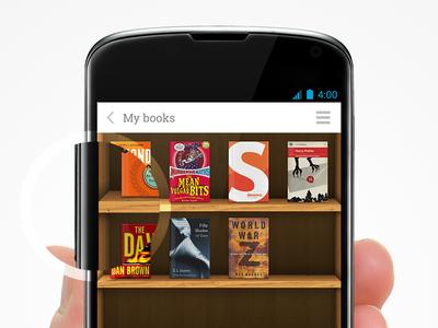"""My Books"" App UI book books app ui wooden shelves nexus 4 android"