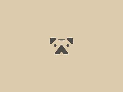 Pug dog pug logo negative engise experiment