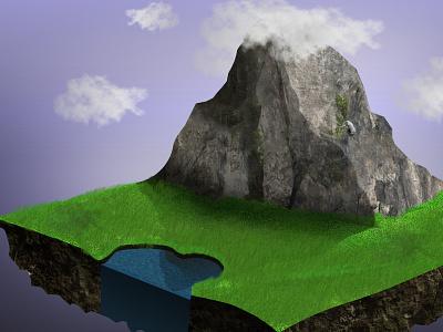 Chunk Island chunk photoshop island floating fields landscape