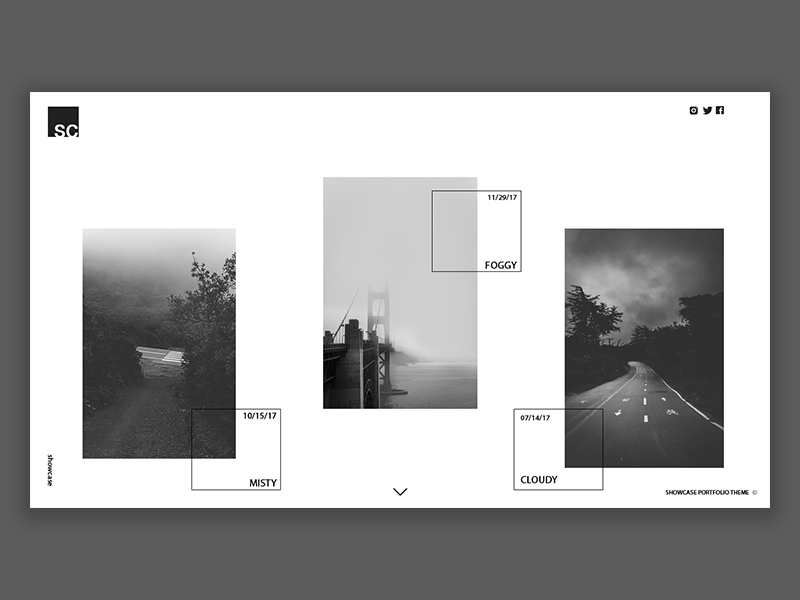Showcase Photography Portfolio website branding geometry lines trends photography theme white black ux ui