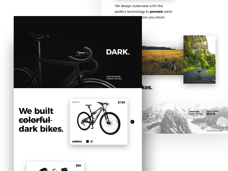 Dark Bikes protype wireframes black dark shop ecommerce bicycle bikes design ux ui web