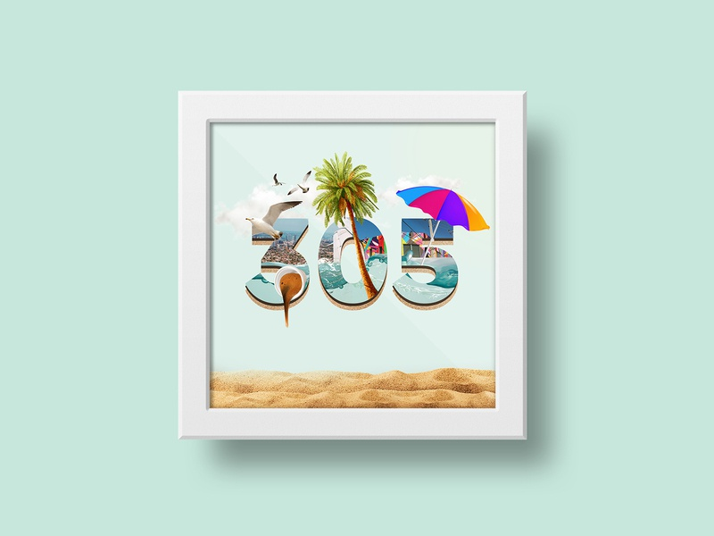 305 Day 🌴 creative art photoshop palms sun frame photomanipulation typography illustration composition collage poster miami 305