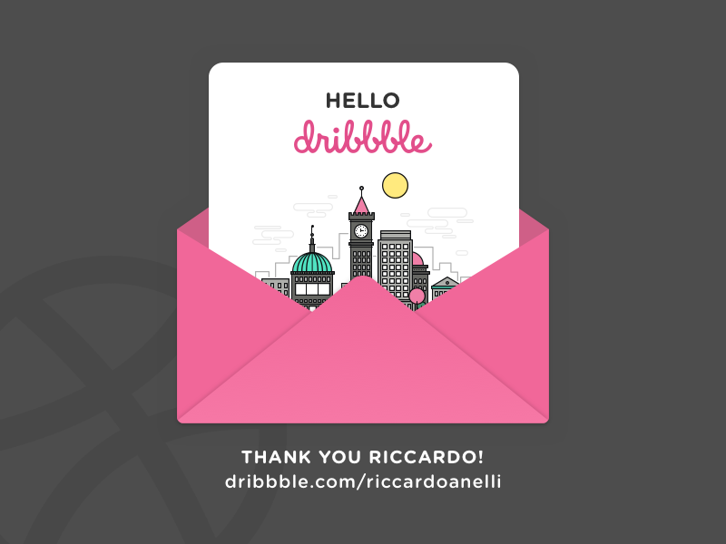Hello Dribbble invite ui thanks shot illustration hello first dribbble city debut