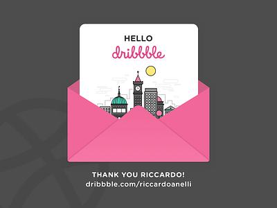 Hello Dribbble invite ui thanks shot illustration hello first dribbble city debut