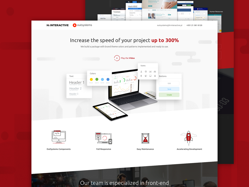 OutSystems Services Landing Page ui red platform outsystems mockup landingpage icons design